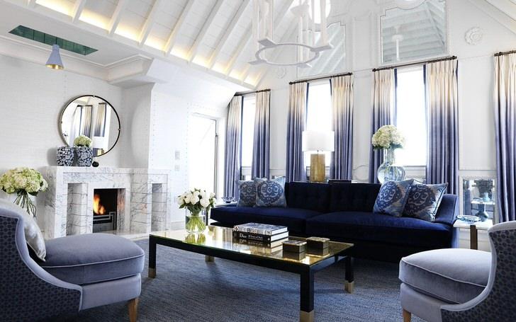 """Средиземноморский стиль """"любит"""" синий цвет. Комната для гостей оформлена в разных оттенках синего. Яркая насыщенная цветовая гамма удачно сочетается с блеклыми, спокойными тонами."""
