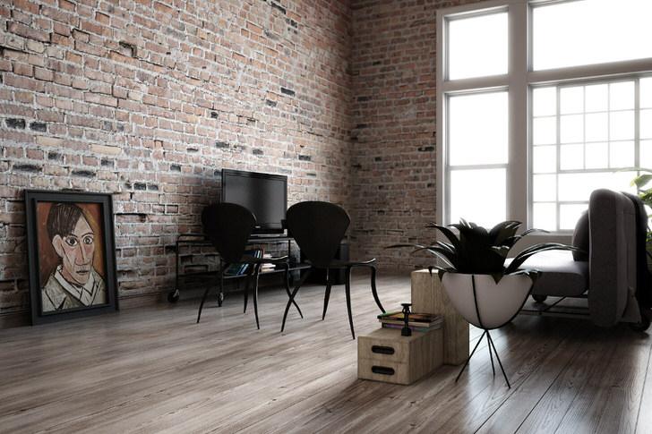 Примечательна кирпичная отделка стен. Стиль лофт для оформления интерьера чаще используют творческие креативные люди.