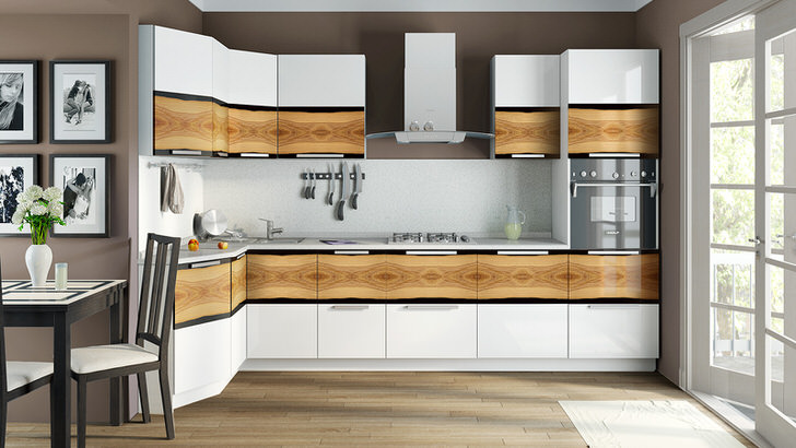 Основным преимуществом модульных гарнитуров считается экономия полезного пространства. Белая мебель для кухни смотрится привлекательно и стильно.