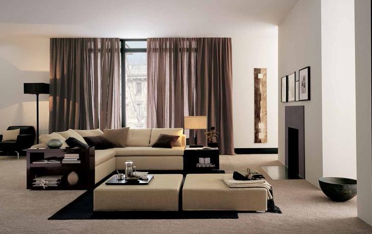 Мебель в стиле хай тек должна быть функциональной. Модульный диван бежевого цвета - идеален для вечерних семейных просмотров кино.