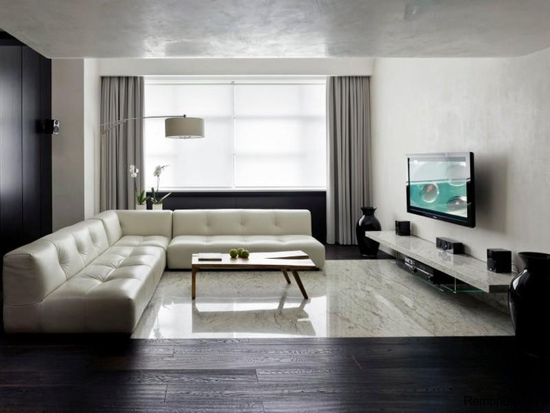 Одним из наиболее используемых цветов для оформления интерьера в стили минимализм является серый. Широкий спектр оттенков серого позволяет дизайнеру выгодно расставить световые акценты, сделав комнату более просторной.
