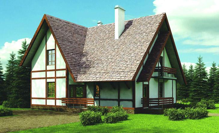 Фасад здания дома оформлен в соответствии с требованиями скандинавского стиля. Контрастная отделка из дерева становится примечательной особенностью стиля.