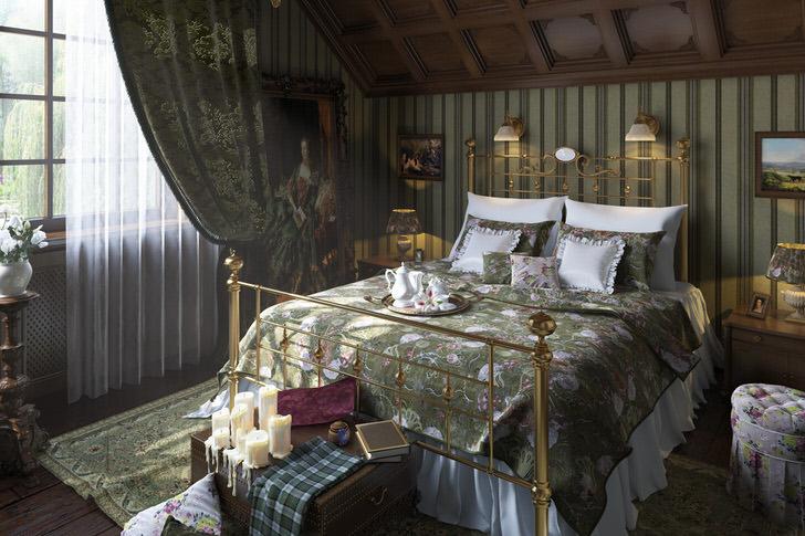 """Гостевая спальня на мансардном этаже в загородном доме оформлена в английском стиле. Сдержанные цветовые решения, мебель """"под старину"""" и подходящее освещение вместе становятся грамотно продуманной дизайнерской концепцией."""