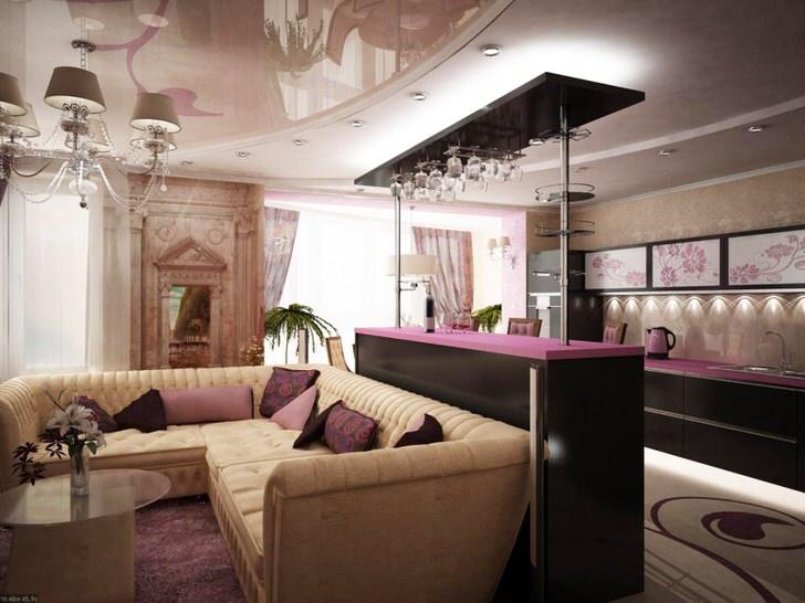 Барная стойка становится своеобразным разделителем гостиной и кухни. Отсутствие стен и искусственных перегородок визуально увеличивает пространство.