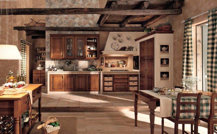 Кухня в стиле шале привлекает своей простотой. Тепло домашнего очага, именно так можно охарактеризовать интерьер кухни.
