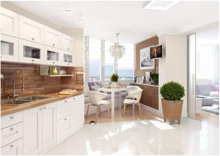 В соответствии со скандинавским стилем для отделки кухни было использовано натуральное дерево. На кухни царит атмосфера уюта и домашнего тепла.