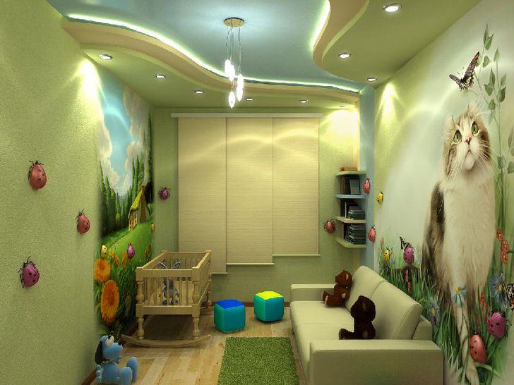 Яркий дизайн детской комнаты с красочными рисунками понравиться и мальчику, и девочке.