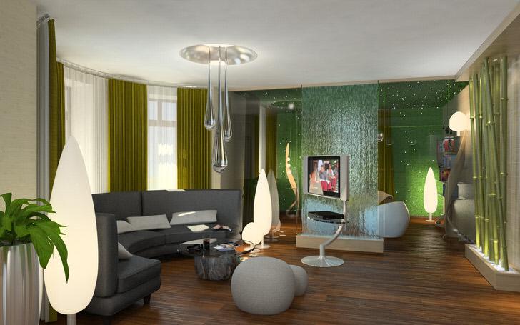 Дизайнерское решение интересно правильно подобранным освещением в эко стиле.