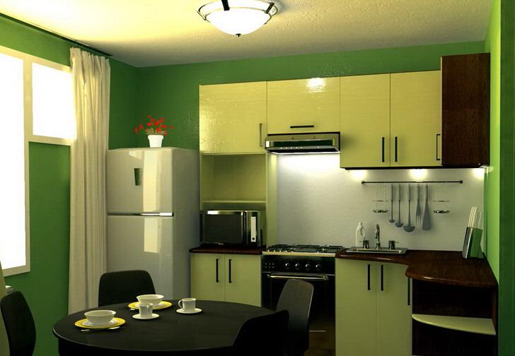 Зеленый цвет - цвет спокойствия и гармонии. Кухня площадью 9 кв м в такой цветовой гамме - отличное решение для оформления любой городской квартире.