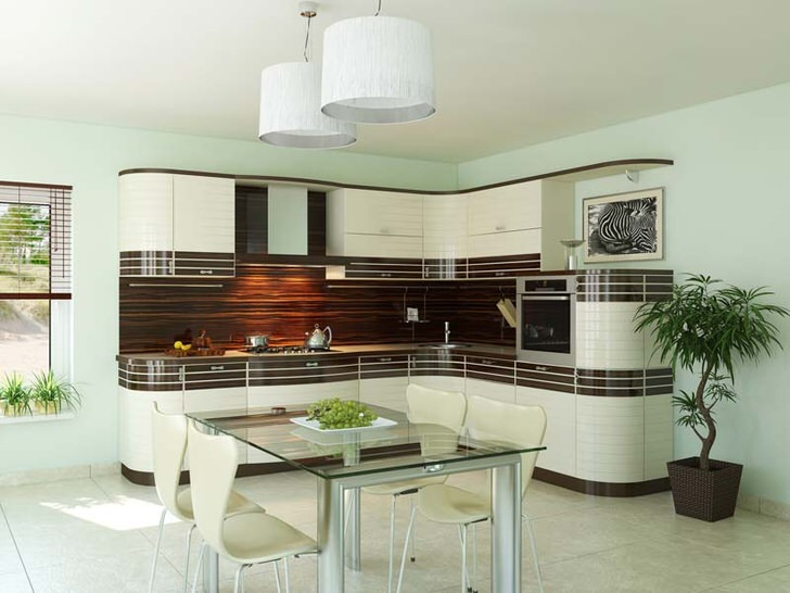 Кухонный гарнитур для кухни в стиле модерн имеет L-образную форму, которая идеально подходит для малогабаритных кухонь. Изысканный внешний вид интерьера выгодно сочетается с его функциональностью.