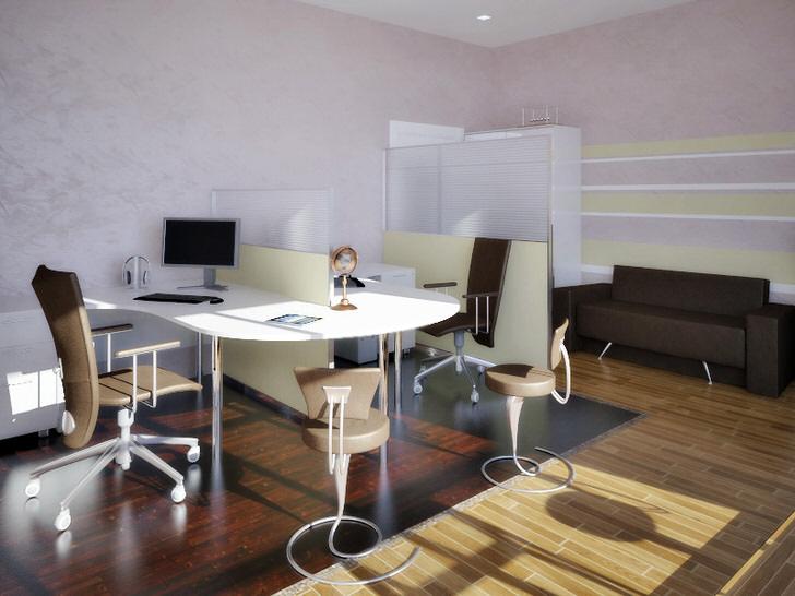 Стильный офис хай тек примечателен необычно сдержанным, спокойным дизайном, способствующим плодотворной работе.
