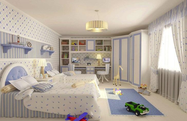 Нейтральные тона, к примеру, нежно-голубой и белый цвета, идеально подойдут для оформления детской комнаты, где будут жить брат и сестра.