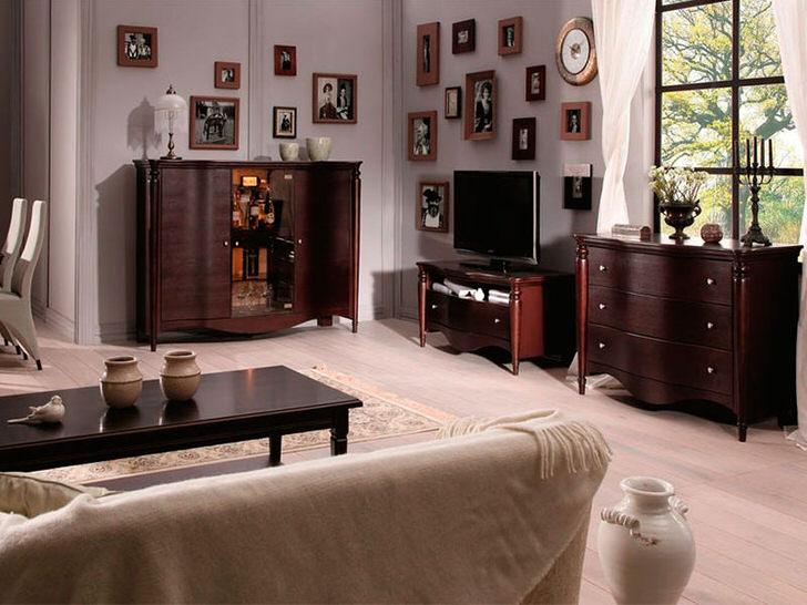 Мебель для гостевой комнаты в стиле венге. Контрастный цвет выгодно выделяется на фоне светлой отделки.