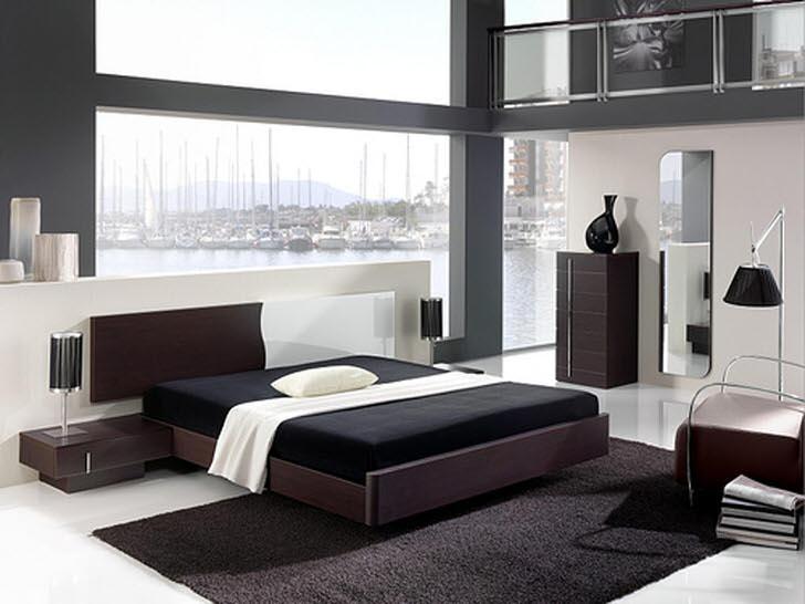 Строгость и сдержанность стиля в полной мере предается использованием для оформления спальни цвета венге.