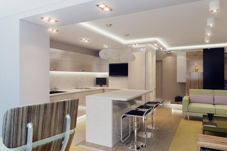 Уютная квартира-студия правильно оформлена с точки зрения стиля. Привлекательный, визуально запоминающийся дизайн гостиной, объединенной с кухней, также практичен и функционален.