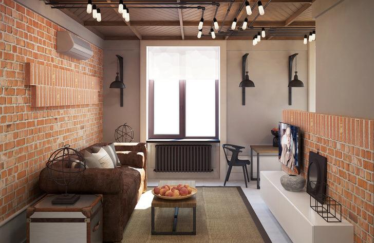 Гостиная в стиле лофт примечательна правильно подобранным освещением. В соответствии с требованиями стиля для оформления оконных проемов гостиной не используются шторы или занавески.
