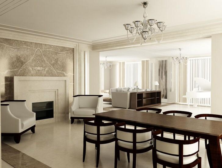 Цвет венге шикарен, как и шикарен интерьер комнаты в стиле арт деко. Изящно в общую картину вписывается камин в изысканной белой панели.