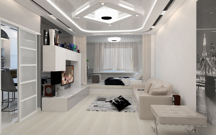 Гостиная в стиле хай тек напоминает семейный кинотеатр, где удобно расположившись можно провести свободный вечер с родными или друзьями.