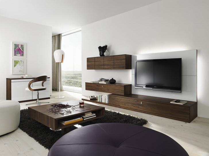 Мебельный гарнитур для гостиной цвета венге органично смотрится в современном интерьере.