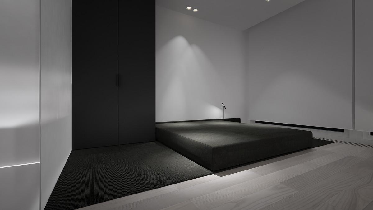 Спальня в стиле минимализм - ярчайший пример особенности оформления. Главная особенность - минимум мебели.