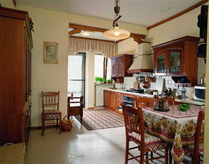 Лаконичное оформление кухни в деревенском стиле идеально подходит для обустройства загородных коттеджей и дач.