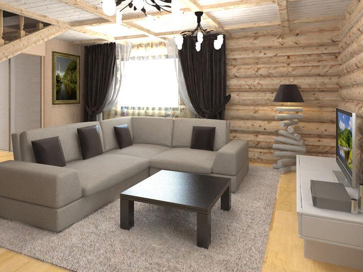 Стильная современная мебель гармонично смотрится в интерьере гостиной в стиле шале.