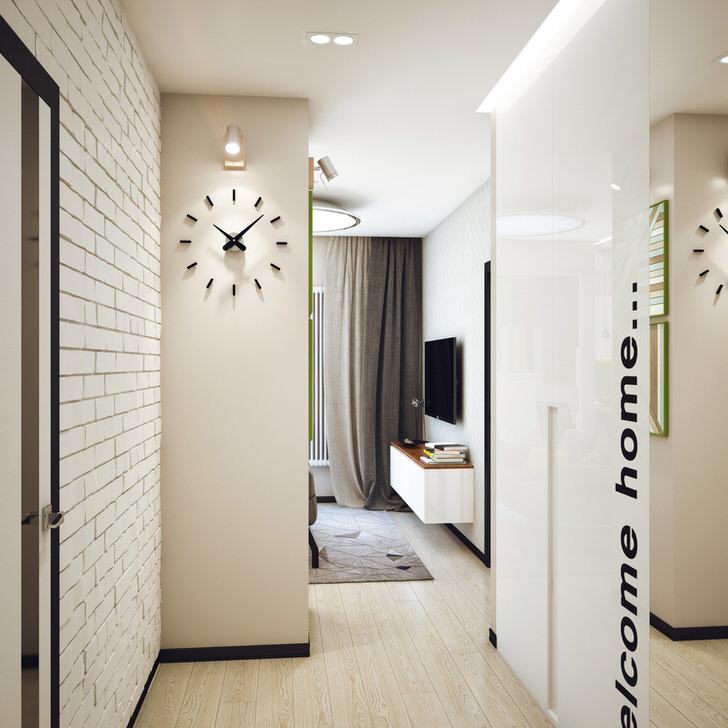Современный лофт в прихожей выполнен в белых тонах. Уютная атмосфера прямо на входе в жилище.