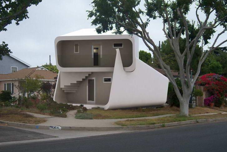 Необычный дизайн двухэтажного модульного дома притягивает взгляды. Конструкция дома подходит для круглогодичного проживания.