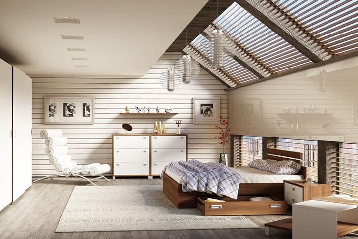 Спальня на мансардном этаже в скандинавском стиле оформлена с использованием модульной мебели.