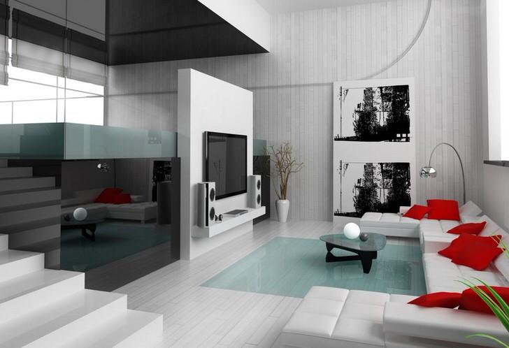Стиль минимализм любит контрасты. Белый интерьер разбавлен яркими акцентами алого цвета. Одинаковые подушки квадратной формы - отличное украшение для гостевой комнаты, которое делает ее более уютной.