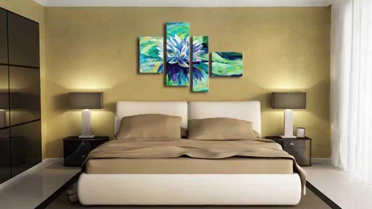 Модульная картина без рам - интересное решение для спальни в модерн стиле. Насыщенные сине-зеленные оттенки картины делаю атмосферу более яркой и стильной.