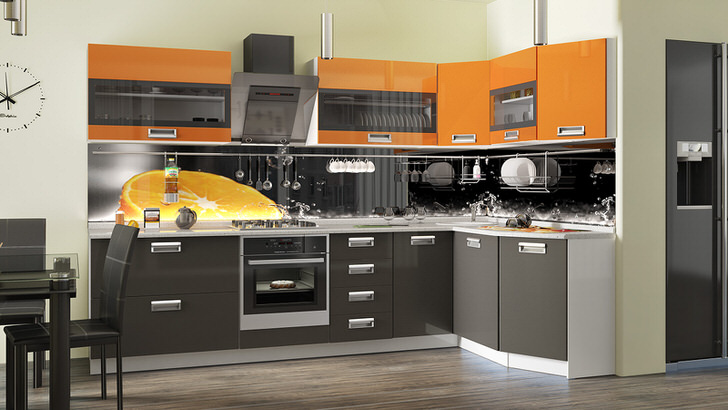 Оранжевый цвет становится ярким акцентом на кухне. Модульный гарнитур L-образной формы позволяет эргономично оформить помещение.