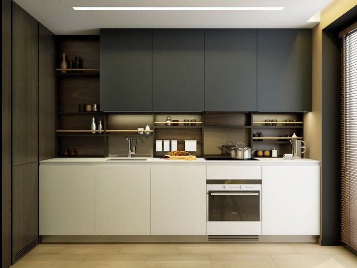 Стильный дизайн современной кухни площадью 9 квадратных метров.