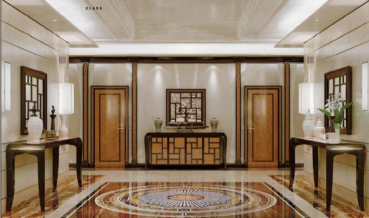 Роскошное оформление холла в стиле арт деко с нотками классики. Стильный, изысканный интерьер без излишка декоративных деталей смотрится дорого и вычурно.