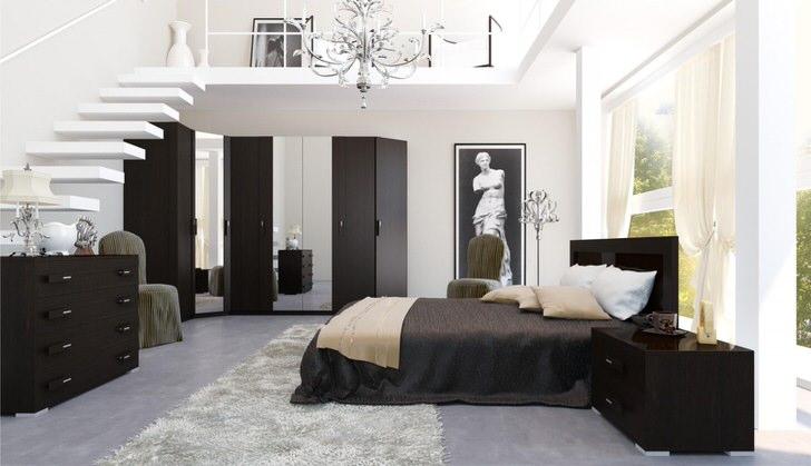 Благородный венге отлично подходит для оформления интерьера спальни в стиле арт деко.