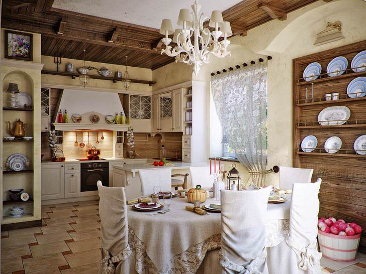 Дизайнерский проект наглядно демонстрирует, что деревенский стиль на кухне тоже может быть изысканным и роскошным.