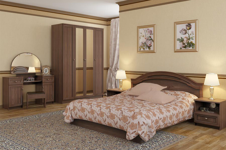 Непревзойденный интерьер спальни в стиле модерн подчеркнут правильно подобранной модульной мебелью.