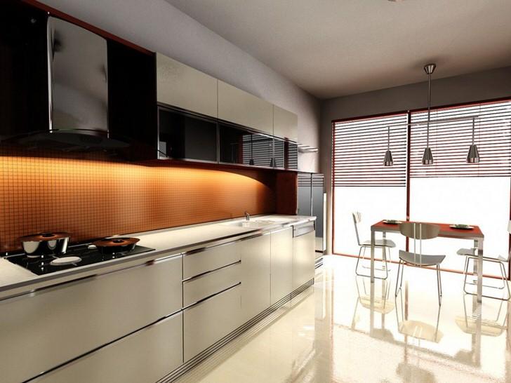 Приглушенный свет в кухне в модерн стиле делает атмосферу романтической. Эффект достигается с помощью жалюзи, которые закрывают панорамные окна.