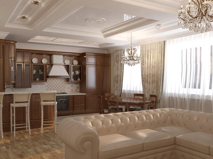 Кухня-гостиная оформлена в стиле модерн. Светлая цветовая гамма, мебель из натурального дерева, массивные потолочные люстры из хрусталя подобраны в соответствии со стилем.