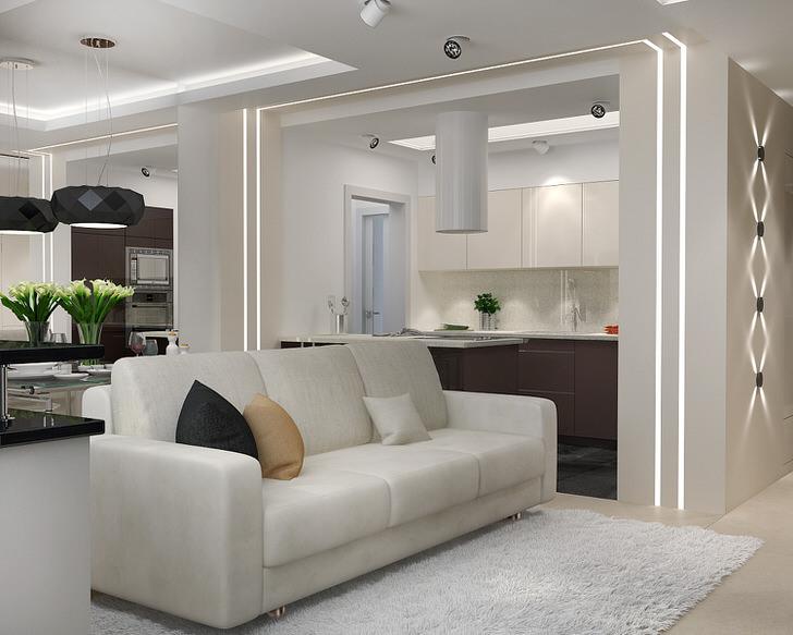 Малогабаритная гостиная в стиле минимализм в квартире студии. Функциональность и привлекательность интерьера в данном стиле делает его незаменимым, когда речь идет об обустройстве небольшого жилого пространства.