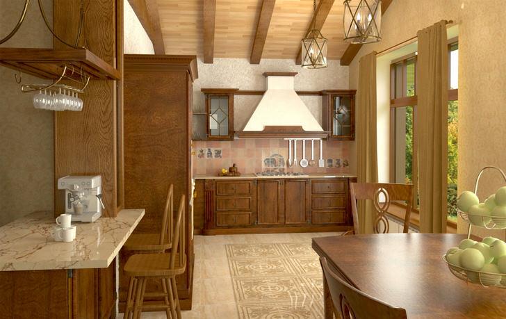 Изысканная кухня в стиле шале - отличное решение для загородного дома.