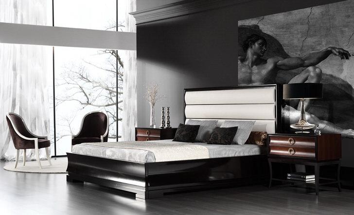 Огромная картина с античными мотивами - идеальное украшение интерьера спальни в стиле арт деко. Большие панорамные окнаделают комнату визуально более просторной.
