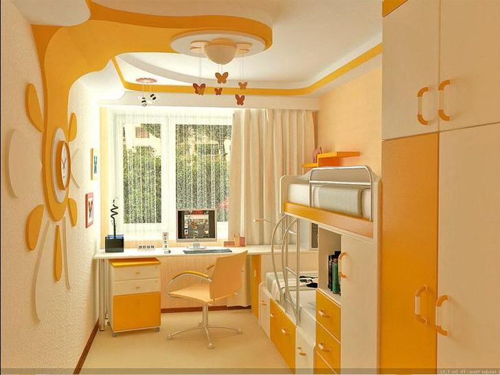 Яркий, солнечный дизайн в детской комнате для двойняшек.