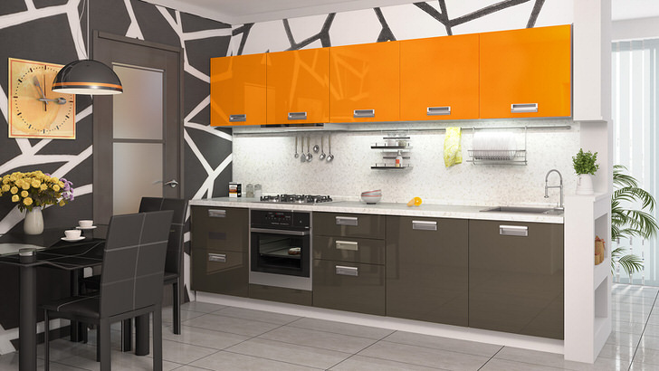 Модульные кухонные гарнитуры оранжевого цвета - идеальное решение для организации уютного, теплого интерьера.