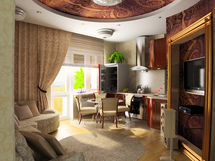 Небольшая квартира-студия в стиле арт деко в новостройке в Подмосковье.