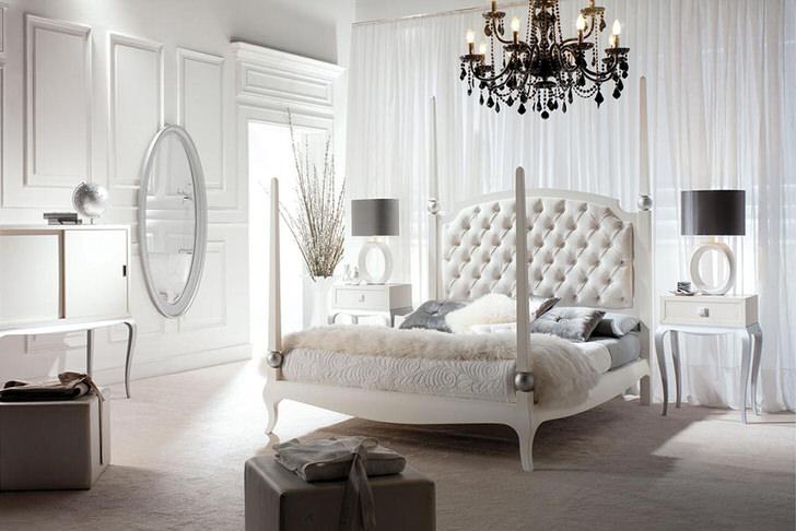 Роскошная, стильная спальня в стиле модерн с правильно подобранным освещением. Недостаточное искусственное освещение создает в комнате романтический полумрак.