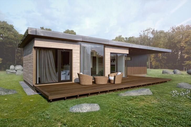 Модульный дом с небольшой открытой верандой в Испании.