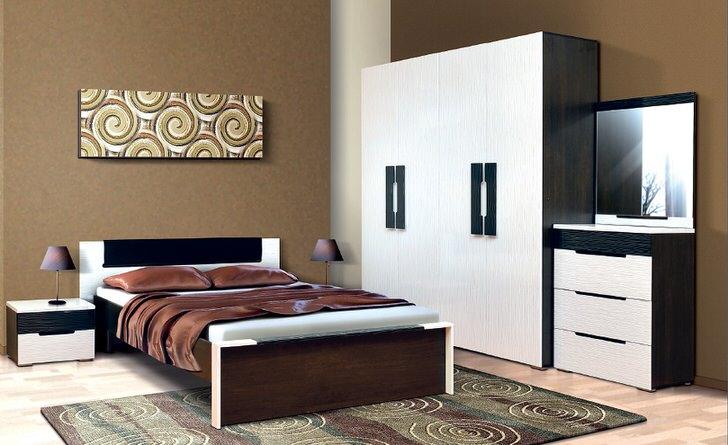 Модульная мебель идеально смотрится в спальне венге.
