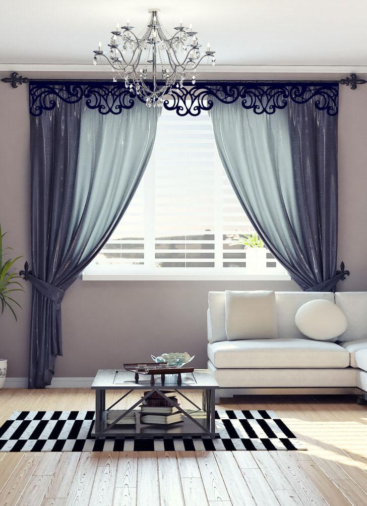 Ажурные ламбрекены для зала создают в комнате творческую, романтическую, уютную обстановку.