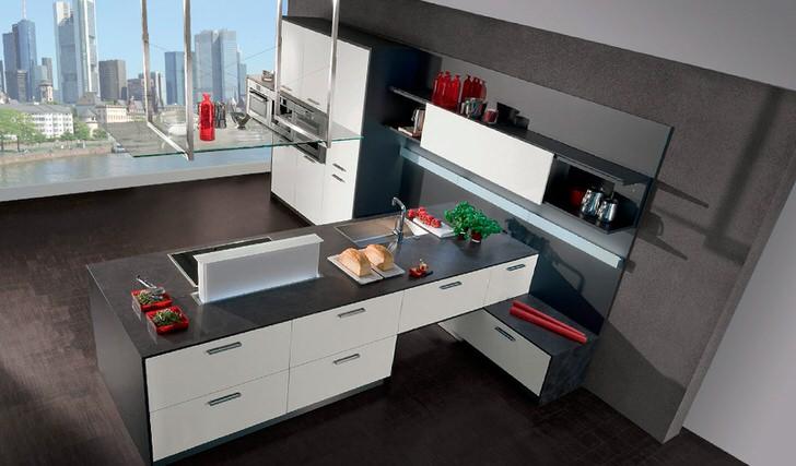 Пространство на кухне в стиле модерн оформлено функционально. Широкие навесные полки и шкафы вместительны и практичны в использовании, что очень важно, когда речь идет именно о кухне.